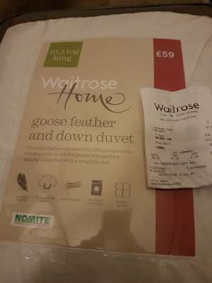 10.5 Goose feather and down duvet £12.75 in Waitrose