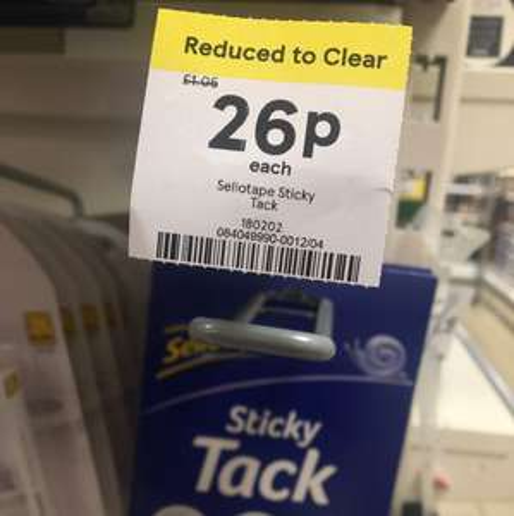 Sellotape Sticky tack - 26p instore @ Tesco