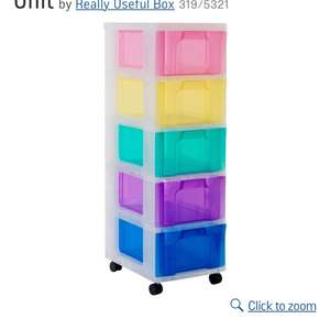 Reduced from £39.99 Really Useful 5 Drawer Multicoloured Tower Storage Unit Now £26.99  @ Argos