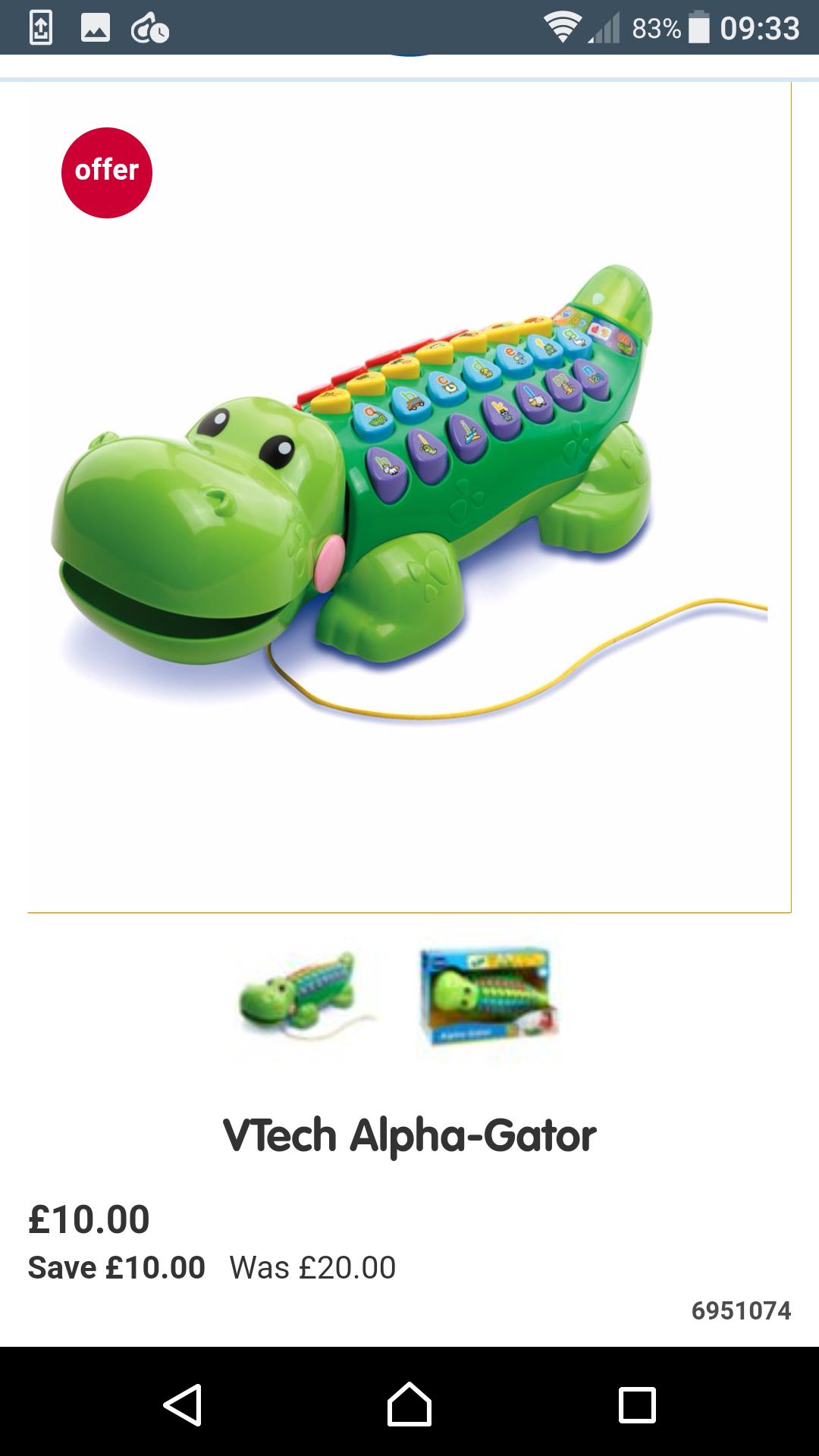 Vtech alpha gator £10 @ Boots