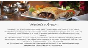 Valentine's at Greggs! £15 - Four courses and a bottle of Prosecco for two