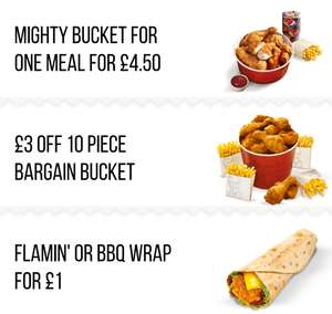KFC Colonels Club Offers, Includes Mighty bucket for one meal £4.50, Flamin' or BBQ Wrap for £1, £3 off 10 pieces bargain bucket
