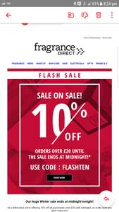 10% of orders over £20 at fragance direct