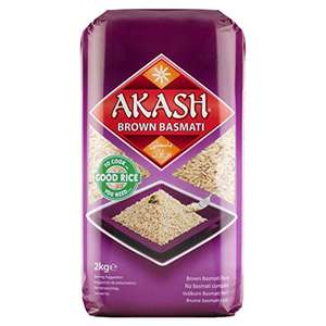 Akash Wholegrain Basmati Rice, 2 kg, Pack of 4 £9.64 Prime / £14.39 Non Prime @ Amazon