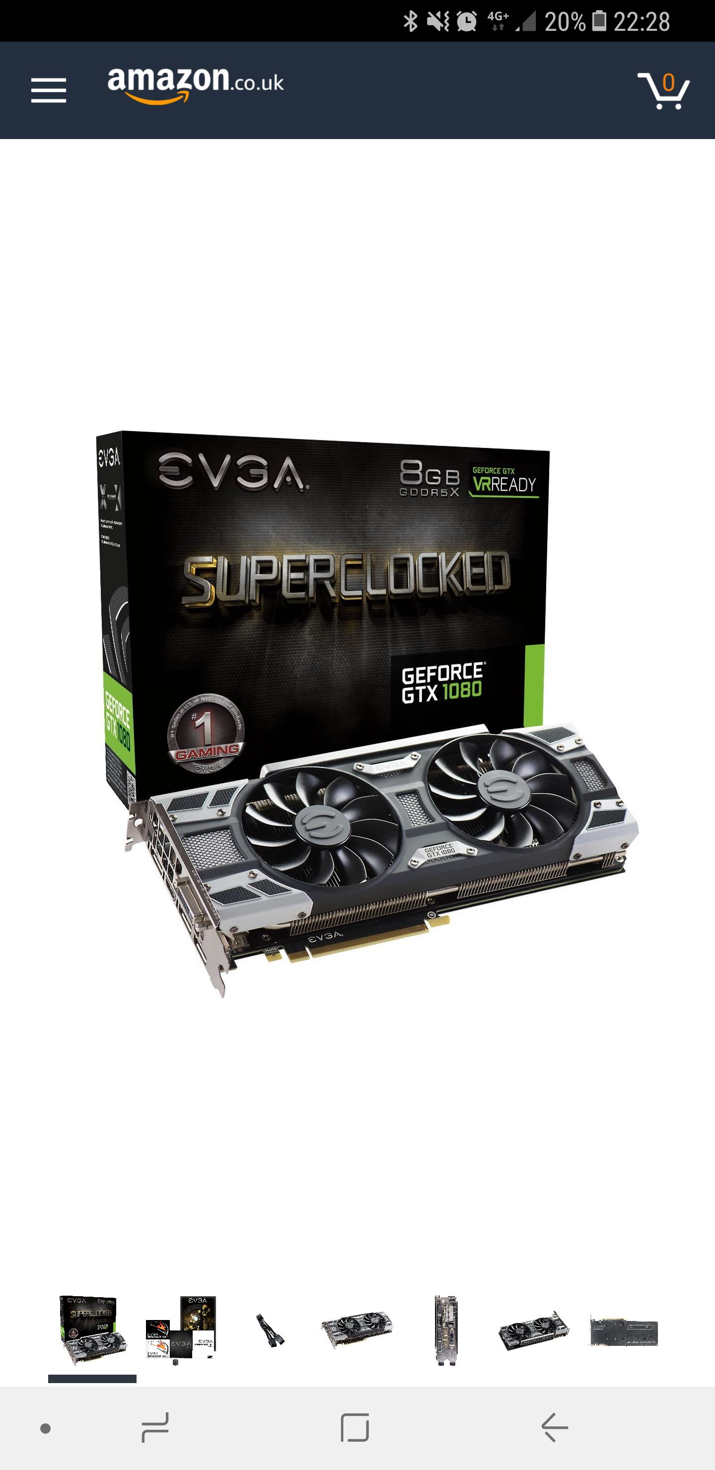 Evga Geforce GTX 1080 SC Gaming ACX 3.0 GeForce GTX1080 Graphic Card 8192 MB