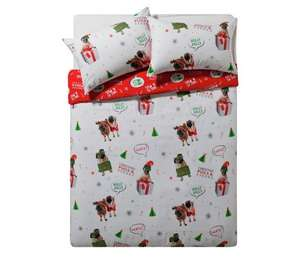 Merry pugmas Cute Double size reversible bedding set, £6 @ argos