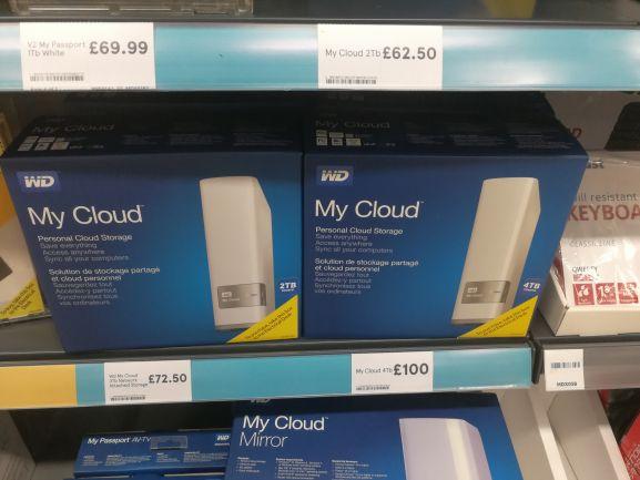 WD My Cloud 3TB Hard Drive £72.50 instore @ Tesco