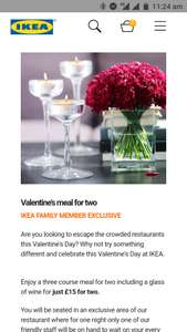 IKEA doing £15 Valentine's Day meal too! (Gateshead)