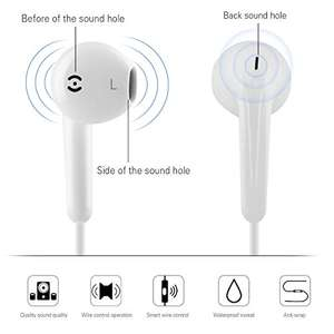 In ear earphones/earbuds with microphone and remote control - twin pack (white and black) only 0.99p delivered  Dispatched from and sold by iZKA Distribution Limited - Amazon