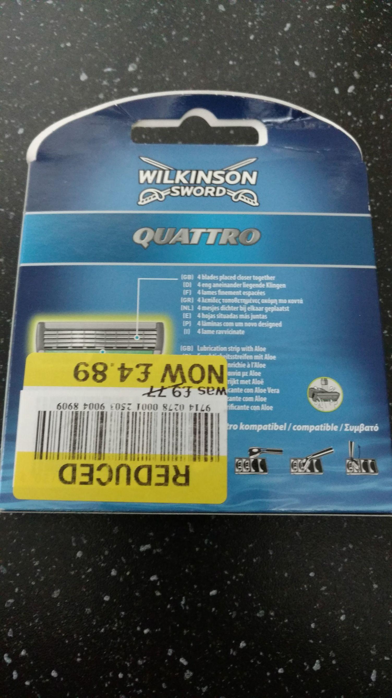 Wilkinson Sword Quattro x 8 £4.89 @ Tesco - Widnes