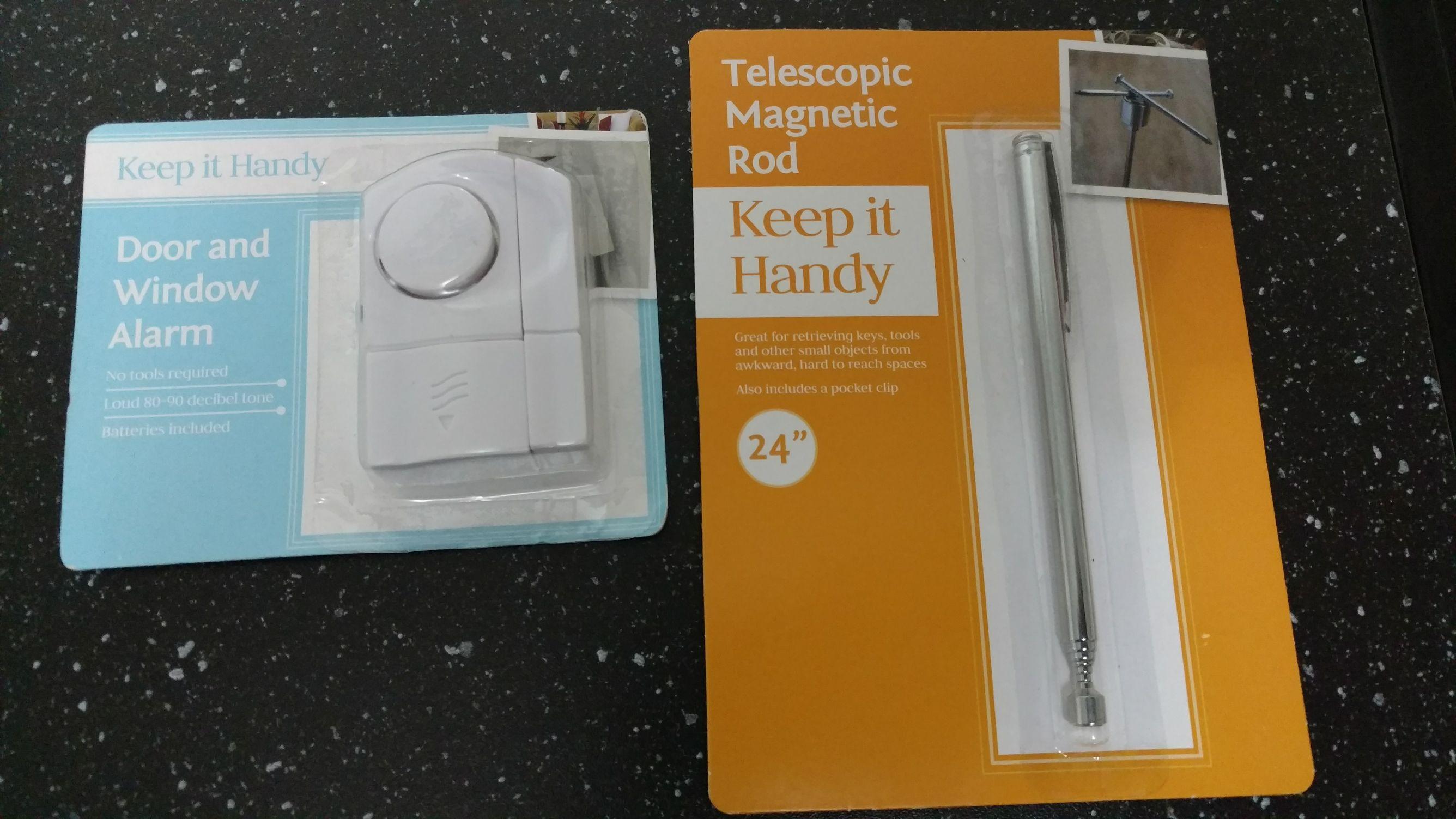 door and window alarm and telescopic magnetic rod 25p each @ tesco