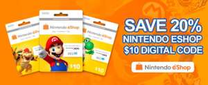 20% off $10 (USA) £5.67 Nintendo eshop voucher PCGame Supply
