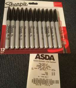 12 Black fine point Sharpie permanent markers only £2.00 instore ASDA