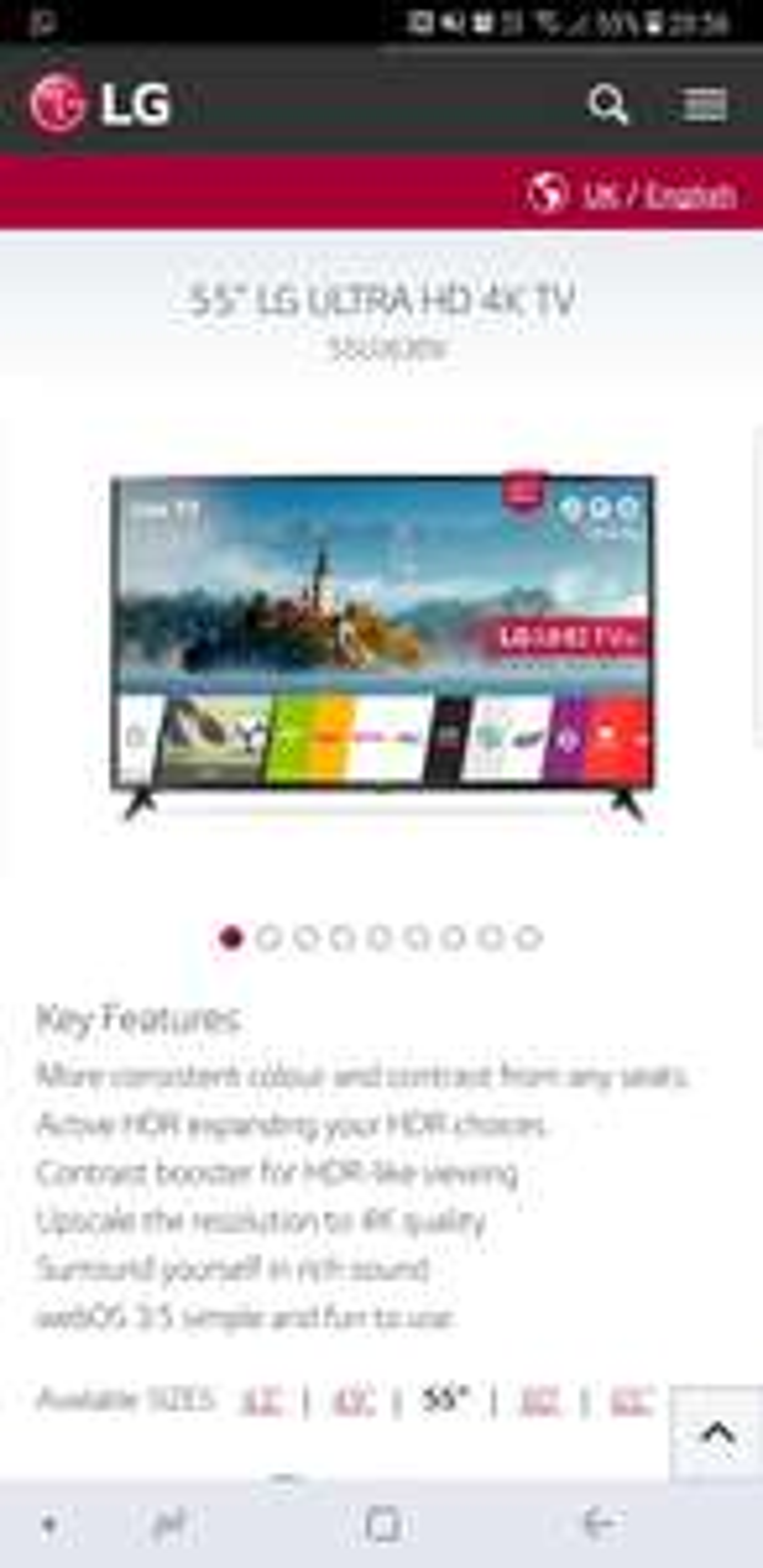 LG 55UJ630V 55 Inch,4K Ultra HD HDR, Freeview Play, Smart, LED TV £529.99 @ Very
