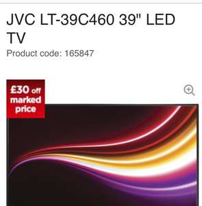 "JVC LT-39C460 39"" LED TV at Curry's - £199 (with code)"