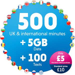 £5 First time online purchase   500 UK & International Minutes 100 UK Texts 5GB Data @VectoneMobile