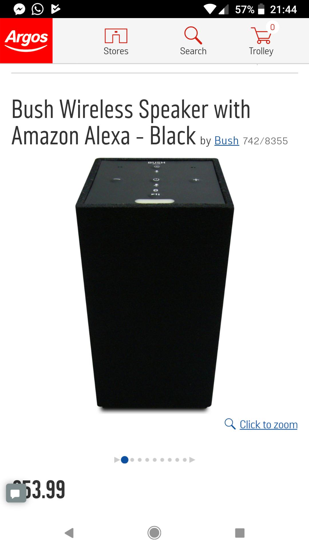 Bush Speaker with built in Amazon Alexa - £53.99 @ Argos (£5 voucher with £50 spend starts today)