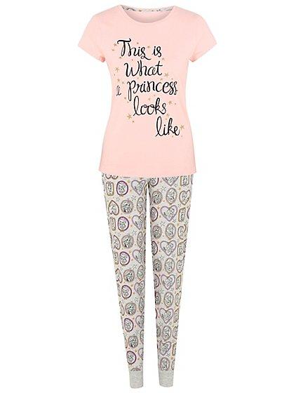 Disney princess ladies cute slogan pyjamas £7 @ asdageorge