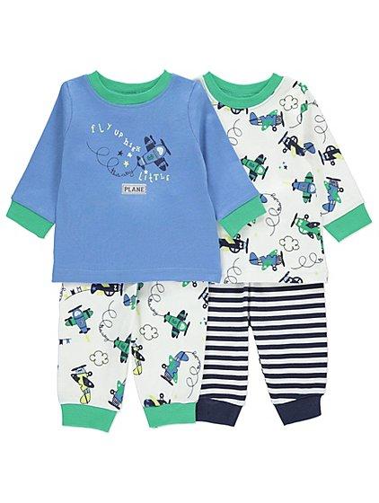 Aeroplane design 2 pack of baby pyjamas £3 @ asdageorge
