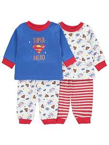 Superhero 2 in a pack of baby boys pyjamas £4 @ asdageorge