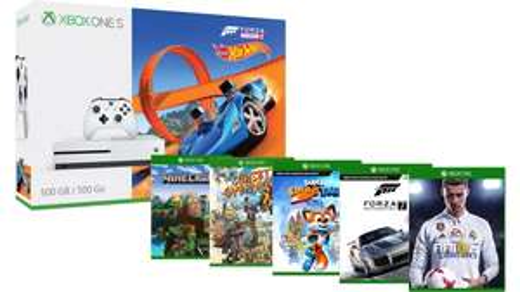 Xbox One S 500GB + Forza Horizon (+ Hot Wheels) + Fifa 18 + Minecraft + Sunset Overdrive + Super Luckys Tale + Forza 7 £208.97 @ Microsoft France (Via Nokeys)
