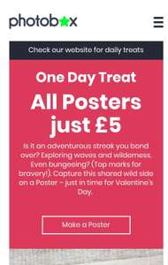 All Posters £5 +  £2.99 postage, any size. Today only at Photobox