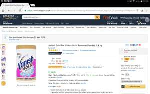 Vanish Gold for Whites Stain Remover Powder, 1.4 kg £5.50 prime / £10.25 non prime @ Amazon