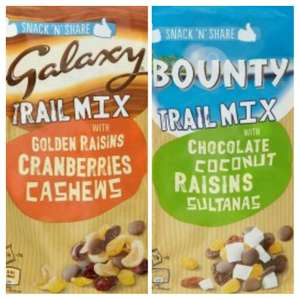 Galaxy and Bounty Trail Mix 150g, half price  £1.50 in Waitrose until 20.2.