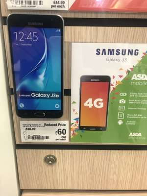 Samsung Galaxy J3 white at Asda instore £60 on Asda (Unlocked)