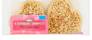 Loveheart Crumpets available in Asda stores for £1 per pack of 4 crumpets from 1st February