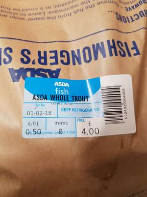 Asda whole trout 50p, down from £2 instore
