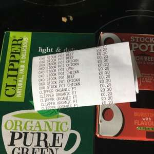 Clipper green tea and oxo stock pots - 20p instore @ Sainsbury's