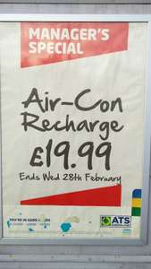 Air con recharge £19.99 @ ATS Boston