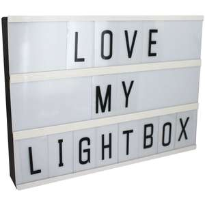 A4 LED Cinema Light Box now £7.50 / Message In A Bottle £1 / Chalkboard LED Light was £12 now £8 Del with code @ The Works