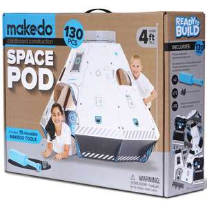 Make-do Cardboard Construction Space Pod (130 pieces inc 75 re-usable tools) rrp £60 now £21 Del with code @ The Works (code takes 10% off £10 / 20% off £20 / 30% off £30)