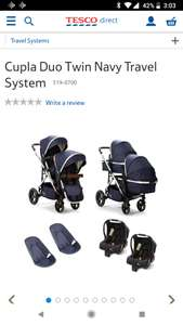 Cupla duo pram was £950 now £770 online a Tesco direct with code