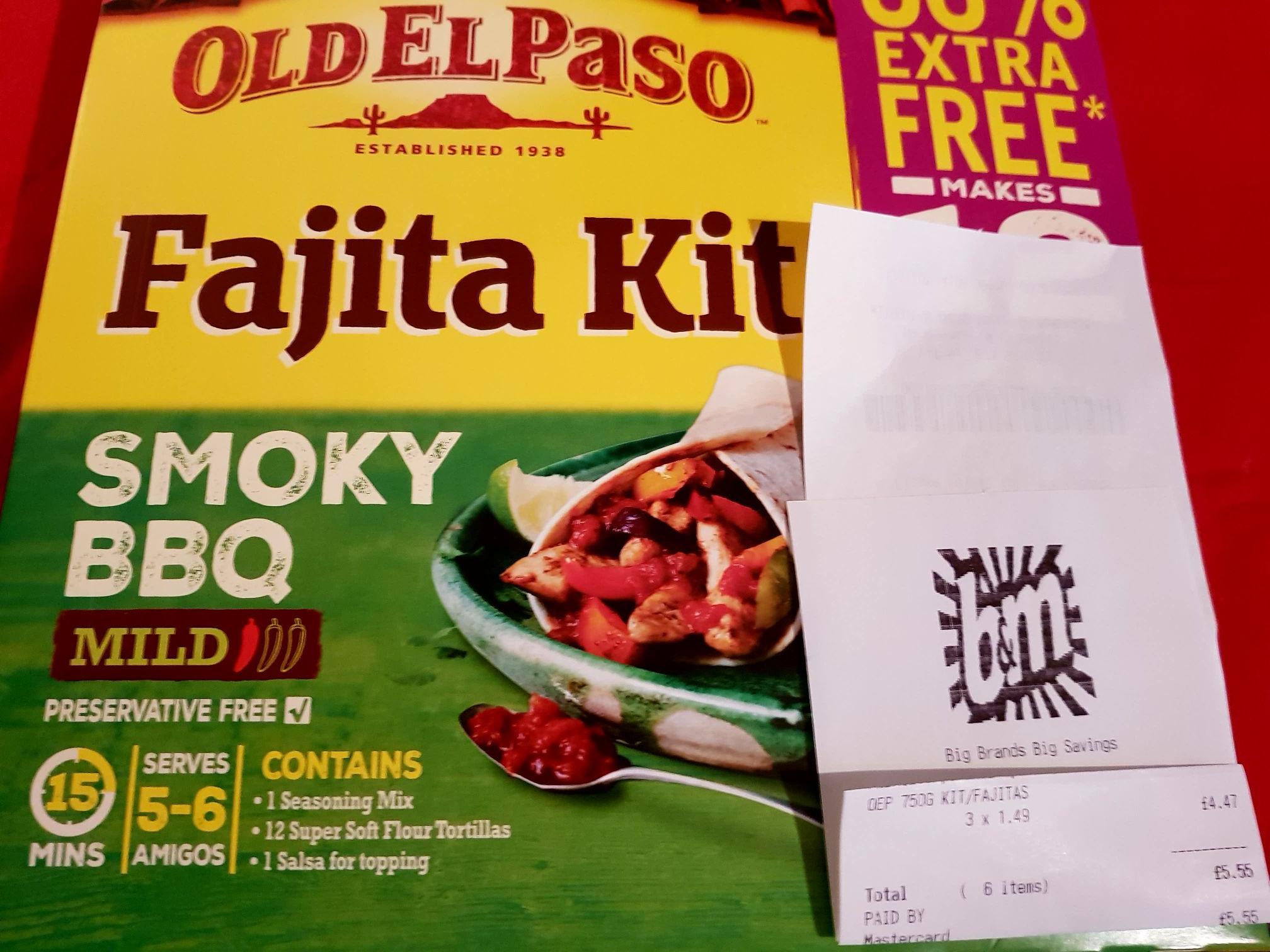 Fajita kit smoky bbq + 50% extra free £1.49 @ B&M