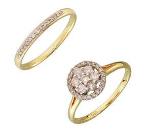 9ct Gold 0.50ct tw Diamond Flower Cluster Bridal Ring Set @ Argos - £134.99