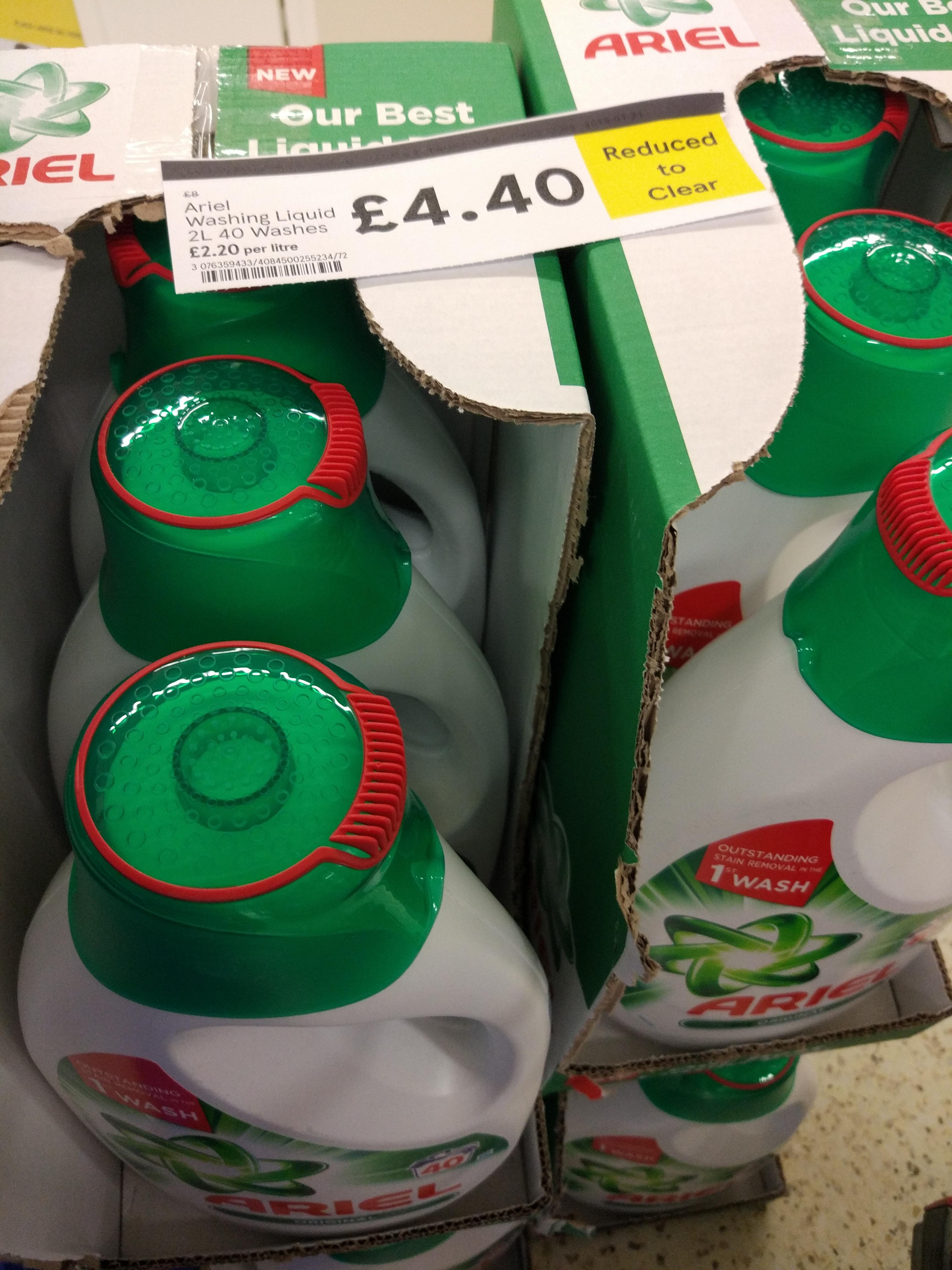 Ariel 40 wash liquid 2lt - £4.40 instore @ Tesco