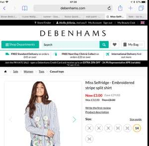 Miss Selfridge- Embroidered stripe split shirt size 14 £3 Del w/code at Debenhams