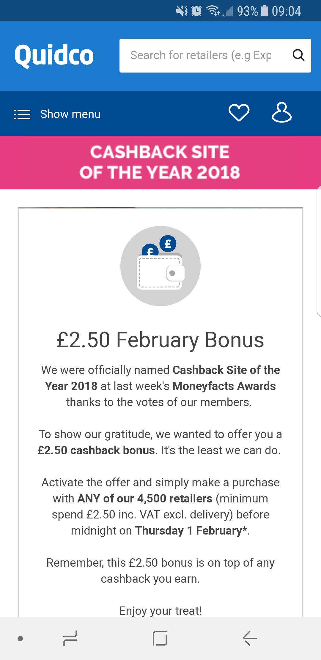Quidco £2.50 February Bonus (£2.50 minimum spend)