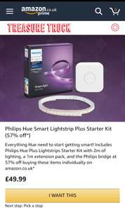 Amazon Treasure Truck Philips Hue 2m Lightstrip & Hub starter kit. - £49.99