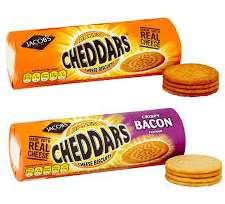 Jacobs Baked Cheddar Cheese Biscuits 150g / Crispy Bacon Flavour 150g and Pickle 150g reduced to 50p @ Asda