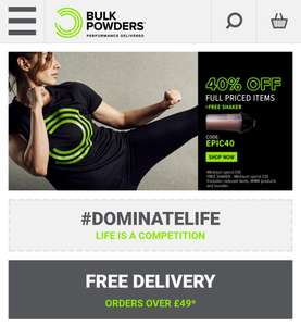 40% Off order + free shaker and free delivery. Thresholds in description. @ Bulkpowders