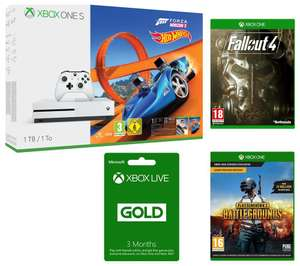 XBOX One S 1TB with Forza Horizon 3 + hotwheels expansion, PUBG, Fallout 4, Fallout 3, 14 day XBL code + 3 months XBL code & 1 Month XBOX Game Pass - £269.99 @ PC World
