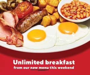 Unlimited breakfast at Frankie and Bennys this weekend