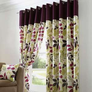 Jacarta plum fully lined eyelet curtains 66x90 inches £22.50 was £45 @ dunelm