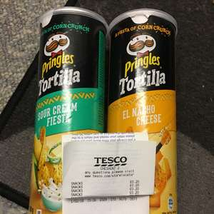 Pringles Sour Cream and Nacho Cheese flavour Tortilla 20p instore Tesco Cheshunt