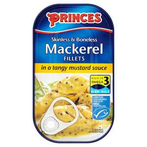 Princes Skinless Boneless Mackerel Fillets in Sauce 125G - Tesco for 80p