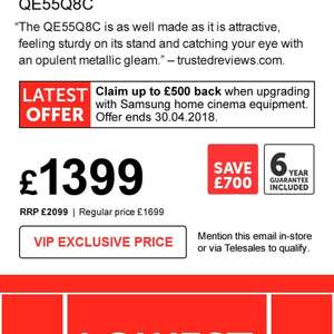 """Samsung QE55Q8C 4K tv 55"""" QLED CURVED TV - £1,699 @ Richer Sounds - £1399 if sign up to vip club"""